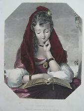 Die schöne Studentin- SPANIEN - kolorierter Stahlstich 1860 sehr schön