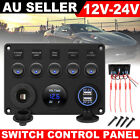 AU Switch Panel 12V USB ON-OFF Toggle 5 GANG Blue LED Rocker for Car Boat Marine