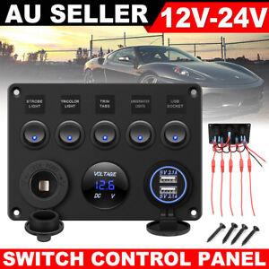 AU 12V Switch Panel USB ON-OFF Toggle 5 GANG Blue LED Rocker for Car Boat Marine