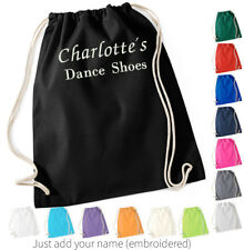 Cotton Drawstring Shoe Bag Personalised Embroidered Dance Ballroom Travel Gift
