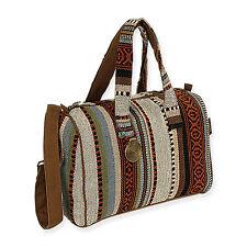 Catori Black Beige Brown Bohemian Chic Satchel Shoulder Handbag Tote Bag New