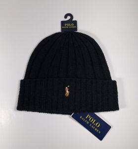 POLO Ralph Lauren Pony Wool Knit Cuffed Beanie Ribbed Skull Cap Hat Black *NEW*