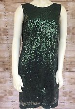 Jessica Simpson Women's Sequined Emerald Sheath Cocktail Dress V-Back Size 10
