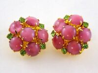 Vintage Satin Pink and Green Rhinestone Cluster Clip on Earrings Gold Tone Metal