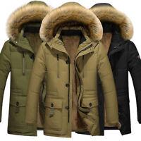 Men's Winter Warm Cotton Down Jacket Fur Collar Thick Coat Outwear Hooded Parka
