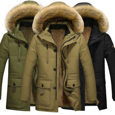 Men's Winter Warm Duck Down Jacket Fur Collar Thick Coat Outwear Hooded Parka