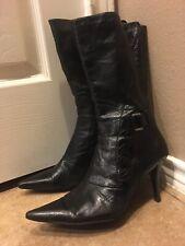 NINE WEST Noringo BLACK Leather Zip Mid Calf Fashion Stiletto Boots Size 11 M
