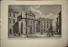 Stampa antica Chiesa San Nicola in Carcere Roma Giuseppe Vasi 1760 old print