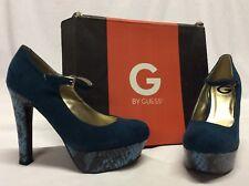 GUESS Women's VARIKA Platform Pumps Shoes, Turquoise ,Bridal shoes  Size 8.5 M