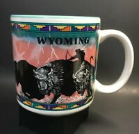 Wyoming Coffee Mug Buffalo Print Turquoise Souvenir