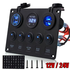 Waterproof 5 Gang Rocker Switch Panel Blue LED Light For Car Marine Boat RV 12V
