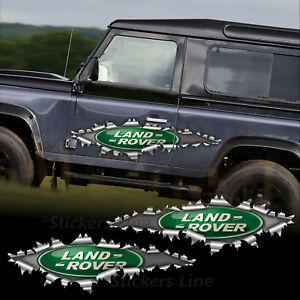 2 Adesivi strappo Land Rover Defender Freelander 4x4 cm 100 lamiera squarciata