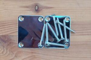 zwei Fender style Halsplatten mit Schrauben - Maße siehe Zeichnungen