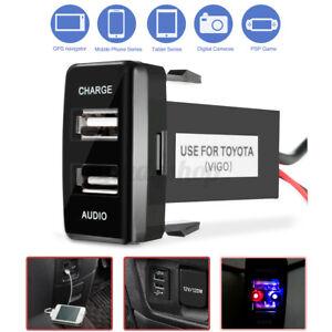 for Toyota Dual USB Audio Charger Port Prado 120 Hilux Land Cruiser 100  AU