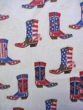 Rojo Blanco y azul botas de vaquero EEUU 4º JULIO Kaufman Tejido 96.5cm Retazos