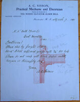 Pawtucket, RI 1910 Letterhead: Sisson Mechanic & Electrician-Elevator Alarm Bell