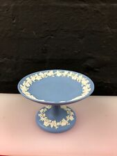 "Wedgwood Blue Jasperware Footed Cake Stand 6"" High 3.75"" Wide 1972"