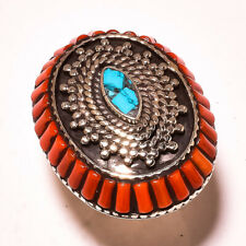 "Tibetan Turquoise Red Coral Gemstone Ethnic Jewelry Nepali Ring S. 7.75"" JA-5628"
