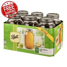 Ball Wide Mouth Canning Mason Jars Half Gallon Clear Glass Jar, 64Oz, Pack Of 6