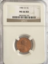 1981 D Lincoln Cent NGC MS 66 RD