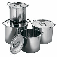 Set of 4pc Stainless Steel Small Medium Large Extra Large Stockpot Set Home New