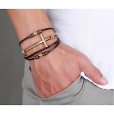 Leather Cross Bracelets Bangles For Women Men Rope Chain Leather Bracelet