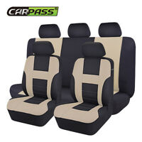 Universal Polyester Car Seat Cover Black Beige for SUV SEDAN Airbag compatible