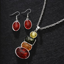Women's Silver Plated African Amber Necklace Earrings Wedding Jewelry Sets Gifts