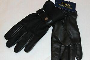Polo Ralph Lauren Men Wool Leather Snap Close Touchscreen Gloves NWT $95 Size XL
