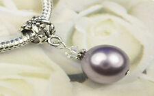 Mauve Crystal Pearl Dangle Charm Bead European Style w Swarovski Elements