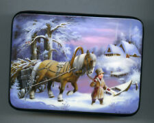 Russian Lacquer box  Fedoskino.Winter. Hand Painted