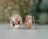 4Ct Oval Cut Morganite Diamond Halo Clip-On Stud Earrings 14K Rose Gold Finish