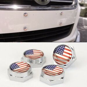 Set of 4  American Flag Anti-Theft License Plate Frame Screw Cap Cadillac GMC