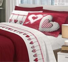 Copripiumino matrimoniale in FLANELLA Cuori Rosso Made in Italy Novità