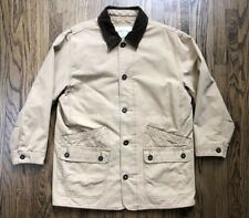 Orvis Mens Field Coat Hunting Jacket Outerwear Button Front Beige Large