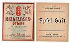1 altes Etikett - Wein- und Mostkelterei Greußen - Heidelbeer-wein - APFEL-SAFT
