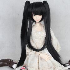 New 1/3  1/4 BJD  Hair Black Double ponytail Long Straight Girls Bjd wig