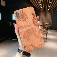 For iPhone X S Max XR 7 8 Plus Real Natural Wooden Wood +Soft TPU Pattern Case