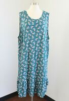 NWT $69 Ann Taylor Loft Plus Teal Floral Print Casual Dress Ruffle Hem Sz 24 26