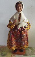 Ancien Femme Bergère avec mouton signé Fabre Santon de Provence Statue 31 cm
