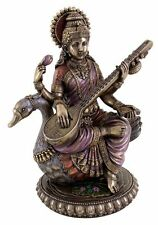 Sarasvati Saraswati Statue on Swan Hindu Goddess of Learning Puja Figurine #3273
