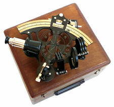 Nautical Collectible Working Sextant Wth Wood Box Marine Antique Brass Astrolabe