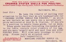 """""""Crushed Oyster Shells For Poultry"""", Maryland Poultry Supply, Baltimore MD 1889"""
