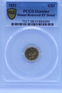 1852 $1 Dollar Liberty Head Gold Coin PCGS XF Detail
