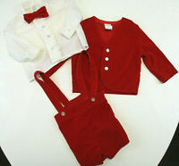 Vtg R-GEE ORIGINALS Outfit Boys Sz 18 mos Red Velvet Jacket Shorts Bow Tie Shirt
