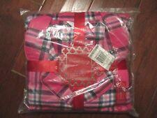 pajama set long sleeve flannel pants shirt women's 1X pink