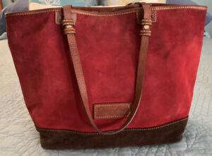 DOONEY & BOURKE Norwalk Tote Handbag Nubuck Leather Suede Red Hobo Purse Used