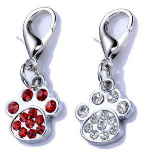 Rhinestones Dog Tags Crystal Paw Shaped Charms For Dog Collars Dog Accessories