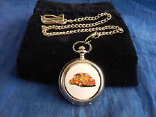 VOLKSWAGON BEETLE FLOWER POWER CHROME POCKET WATCH WITH CHAIN (NEW)
