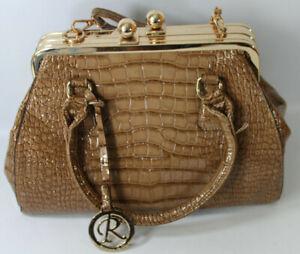 Rimen & Co. Alligator Skin Type Purse Bag Brown